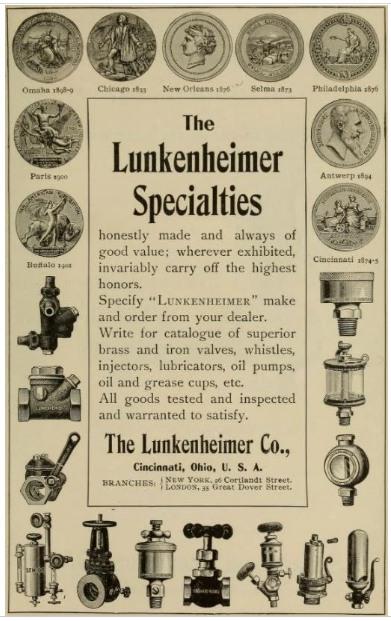 Реклама фирмы «Lunkenheimer Company»