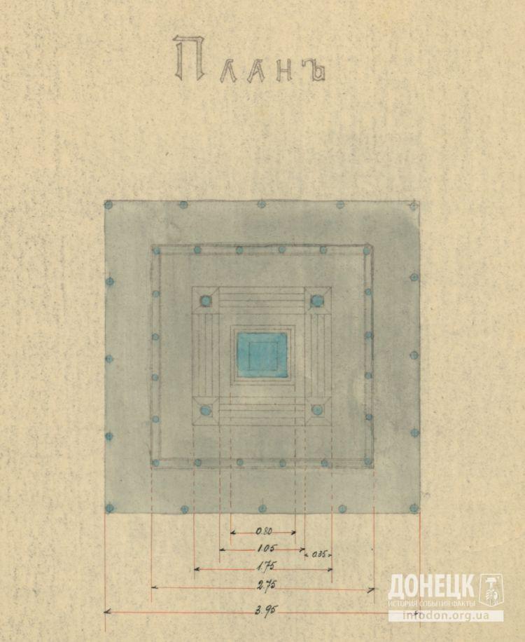 План постамента памятника с указанием размеров. Вид сверху