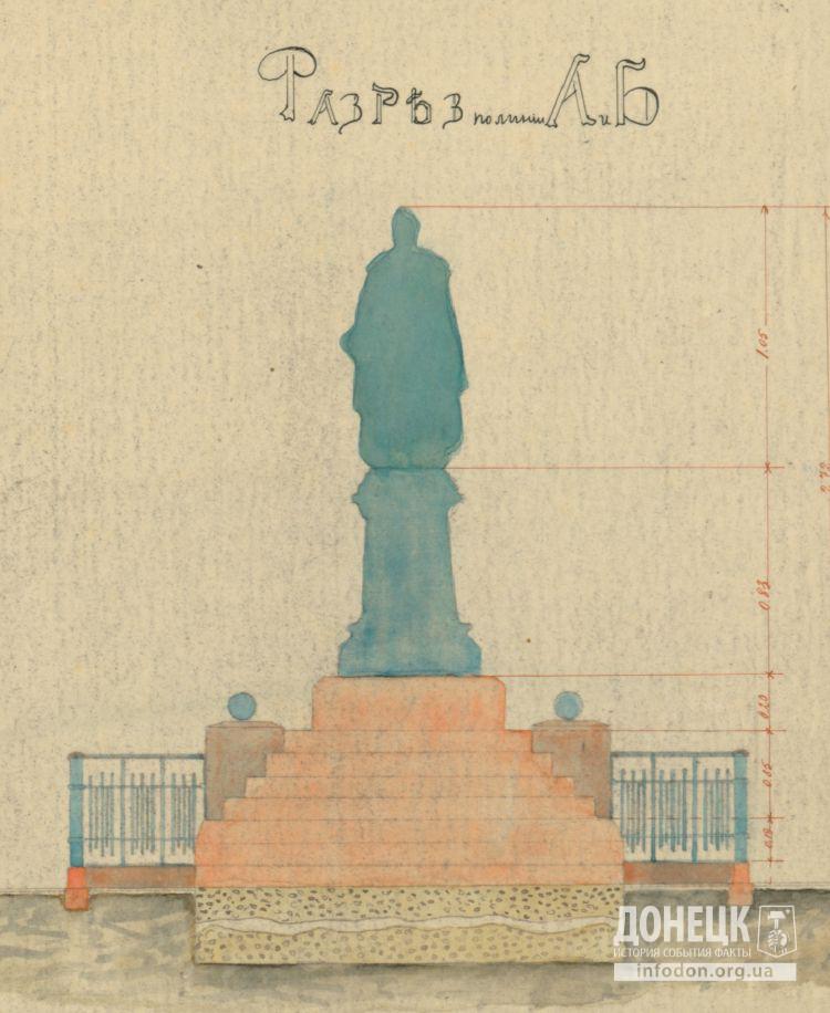 Разрез памятника Александру II в Юзовке