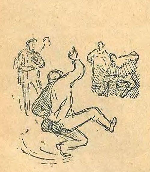 Комсомольцы организовали веселую вечеринку в честь замечательного рекорда. Митя плясал, пел и веселился
