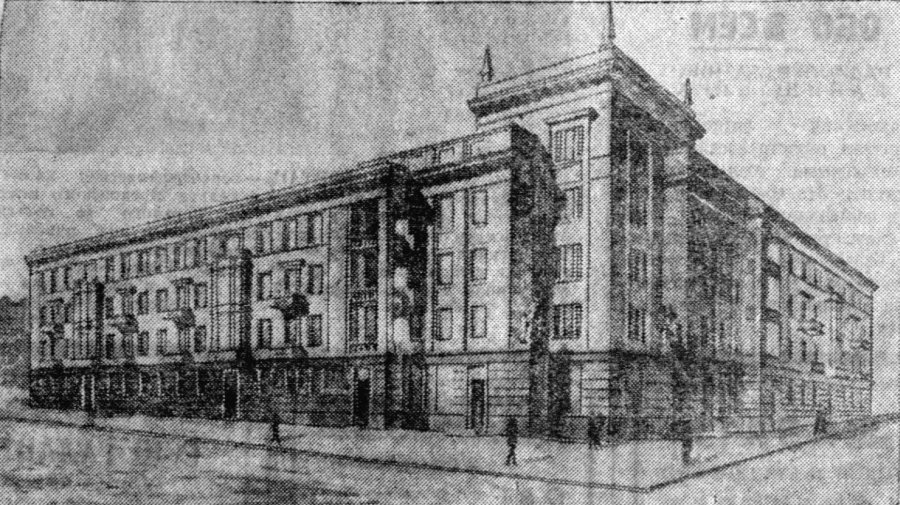 проект главного здания университета в Сталино, напечатанный в газете