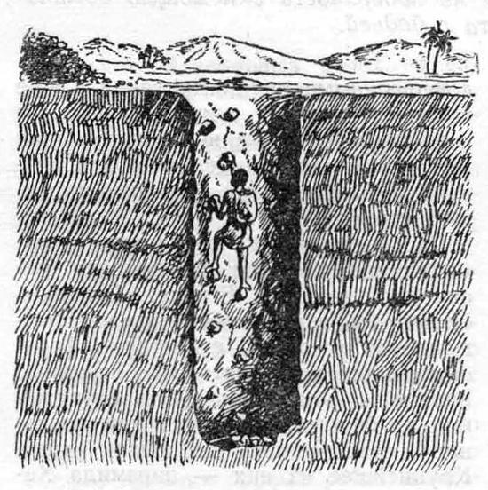 Древняя шахта представляла из себя колодезь   с  камнями-ступенями, по которым можно было спуститься и выбраться наружу