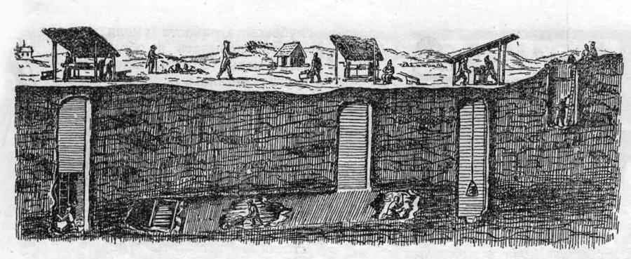В XVI веке горняки работали в неглубоких, тускло освещенных шахтах. Вентиляции не было. Уголь подавался на поверхность с помощью обыкновенного ворота с бадьей.