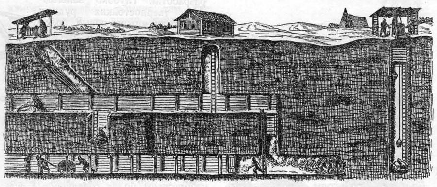 В XVII веке шахта стала глубже. Улучшилось крепление. Увеличившаяся добыча угля потребовала первой механизации откатки добытой породы. В шахте появились тачка и вагонетка. Но все работы велись по-прежнему вручную.