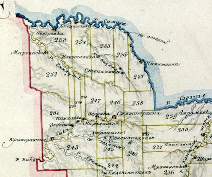 На фрагменте карты позапрошлого века отмечены земли генерала  Коновницына (участок №253)