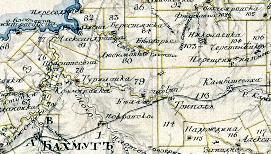 Фрагмент карты позапрошлого века. Участок №79 с д. Белая принадлежал Ст.Ив.Родзянко--