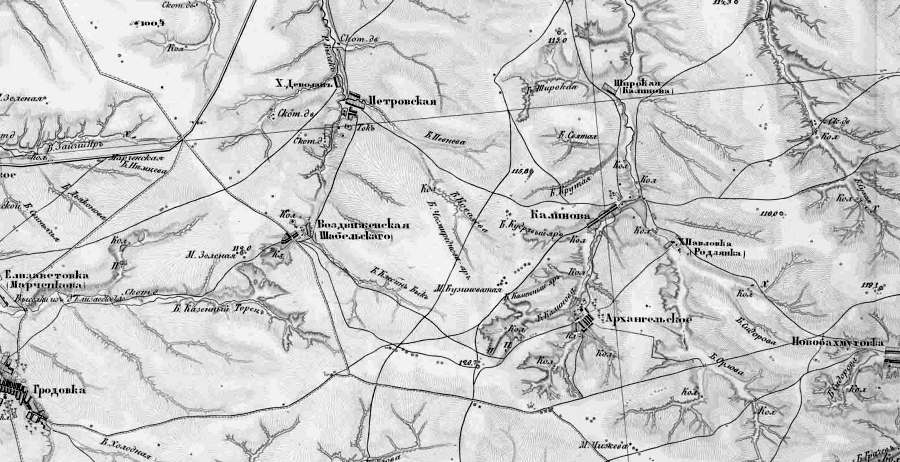 хут. Павловка(Родзянко) на карте второй половины  XIХ века