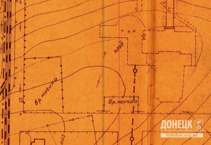 Выкопировка из генплана г. Сталино 1953 года с указанием братских могил