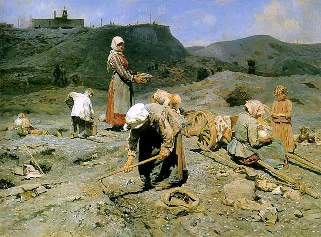 «Сбор угля бедными на выработанной шахте» 1894 г. Масло, холст. 80.3 × 107 см. Государственный Русский музей, Санкт-Петербург