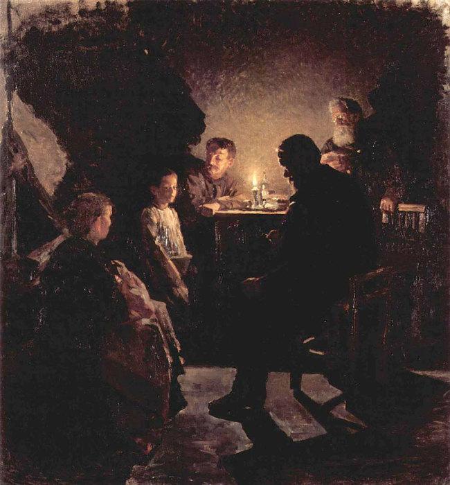 «В рабочей семье (В семье рабочего)» 1890-1900 г. Холст, масло 75,5 x 71,5 см. Государственный Русский музей, Санкт-Петербург