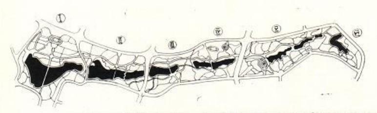 Схема плана зоны отдыха пойме р. Бахмутки  — I— ЦПКиО имени А. С. Щербакова; II— Центральный пляжный парк; III — детский парк; IV — районный парк «Средние пруды»; V — пейзажный парк «Городской лес»| VI — пейзажный парк «Верхний»