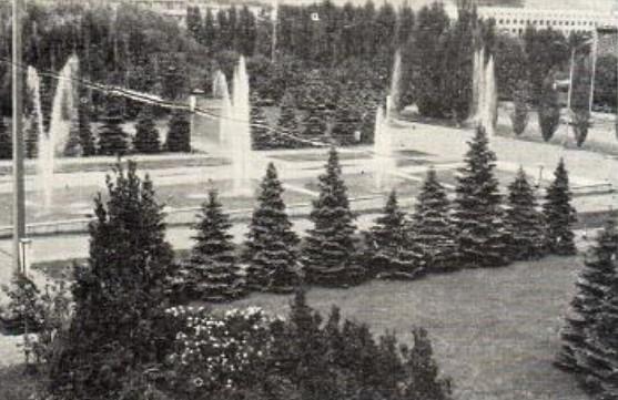 Зеленые насаждения дополняются высоким уровнем благоустройства, водный партер и фонтаны на площади Советской