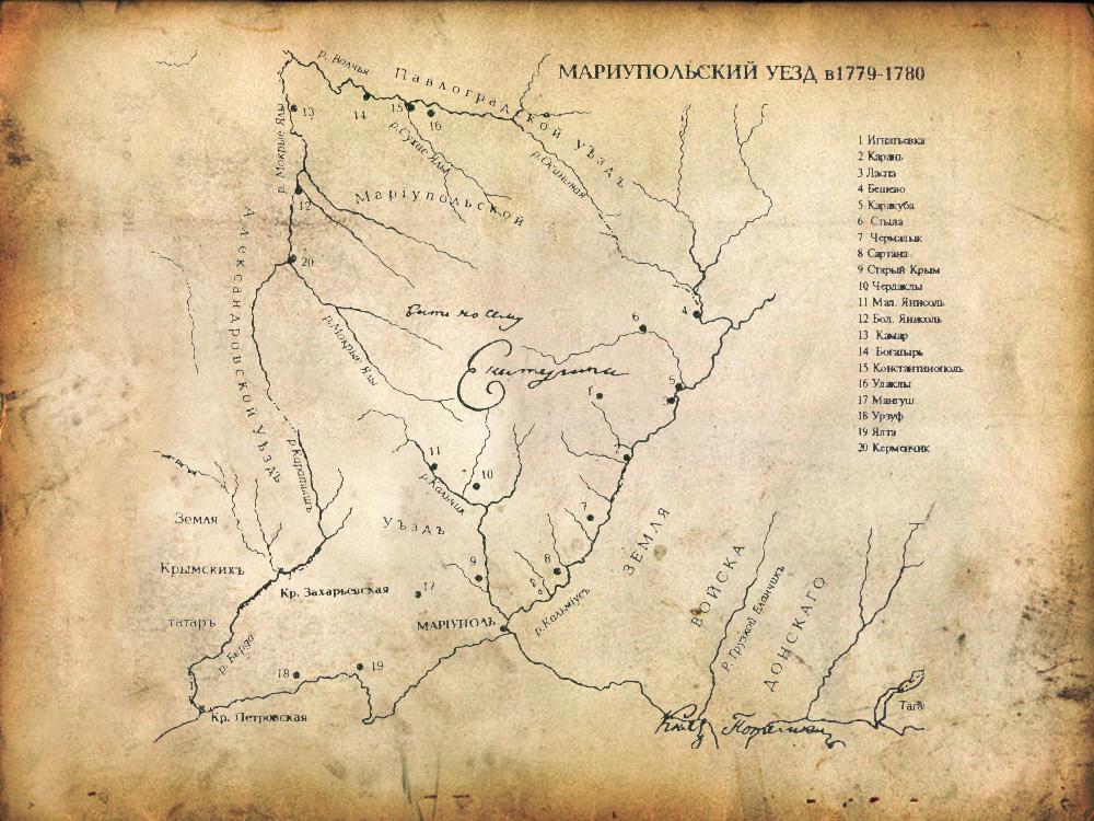 Карта Мариупольского уезда в 1779-1780 гг.