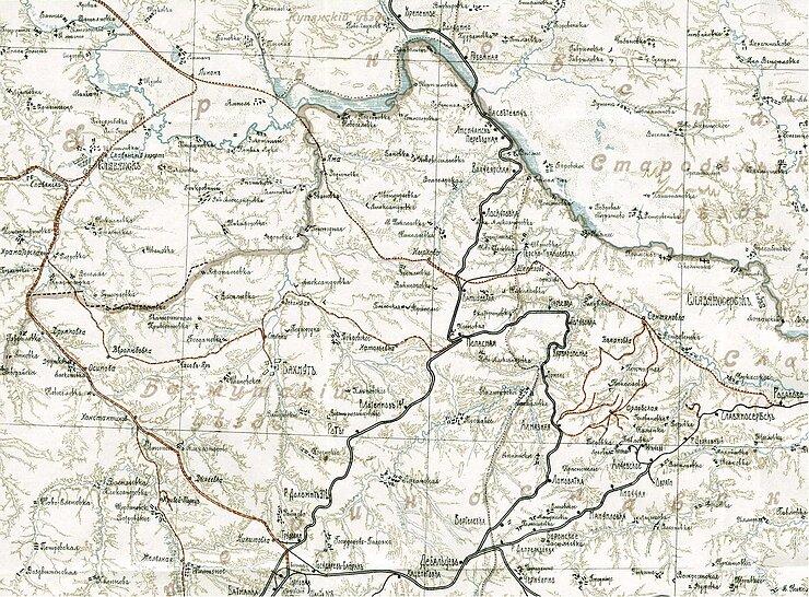 Фрагмент карты 1912 года с указанием участков Родаково – Лиман, Лиман – Славянск – Краматорская и пр.