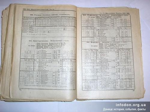 Расписание пассажирских поездов на направлении Ясиноватая – Караванная на май 1917г.