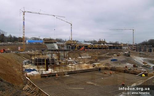 Строительство Донбасс Арены. 2006.11.18. Металлоконструкции из арматуры