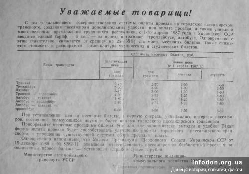 Объявление о совершенствовании системы оплаты проезда на городском пассажирском транспорпте Донецка в 1987 году